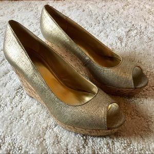 Gold Nine West Wedges